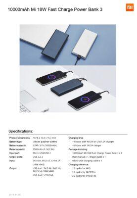 xiaomi 10000 mah powerbank specifikationer
