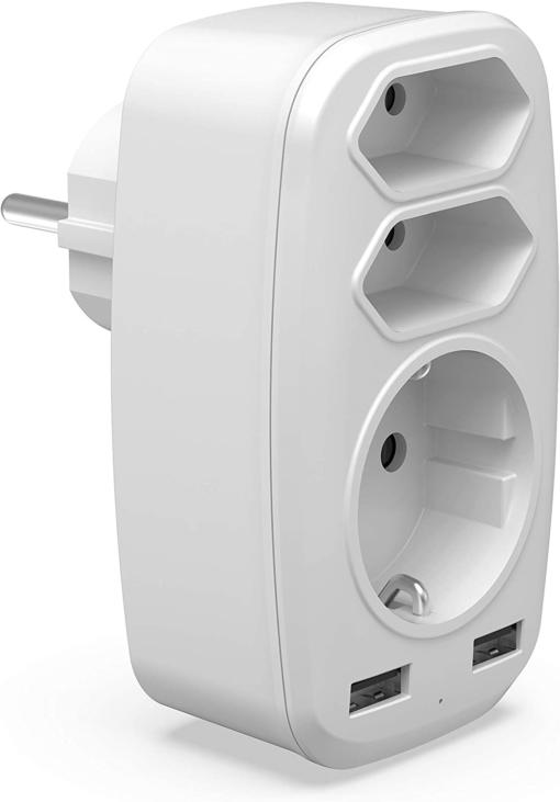 Smart fordelerstik med 3 udtag og 2 USB-porte